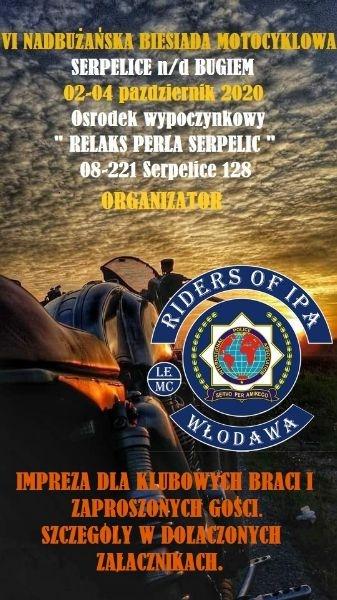 Zaproszenie na VI Nadbużańska Biesiada Motocyklowa – 2020 r. Serpelice nad Bugiem w dniach 02-04 października 2020 roku