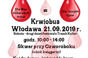 Pomożesz, bo możesz ?Oddając krew ratujesz życie. Akcja Krwiodawstwa w IPA Włodawa 21.09.2019 roku godz. 12